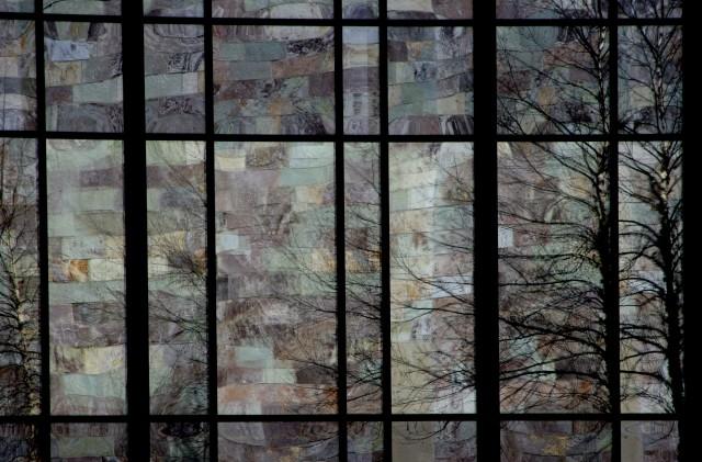 Checkerboard of hues, reflection Bloomington Arts Center 003b
