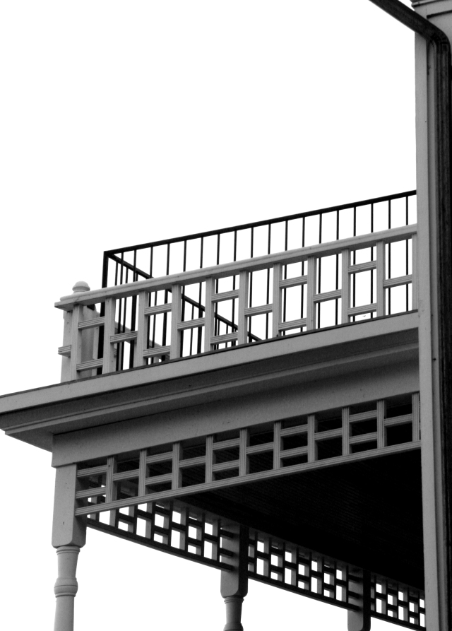 Detail of back porch of Mower Home, Arcola mills BW version