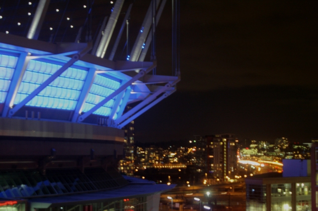 BC Place Stadium and Vancouver city lights