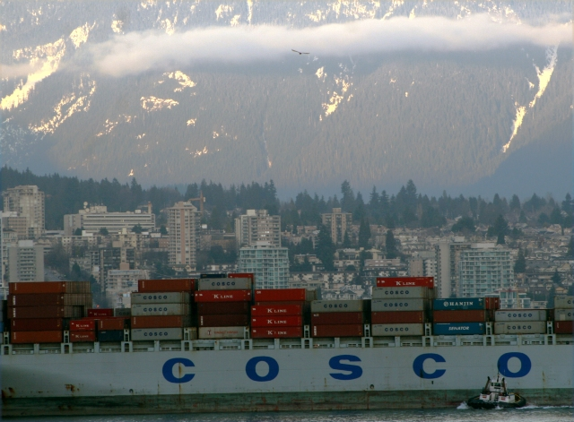 Cosco moving product past North Vancouver