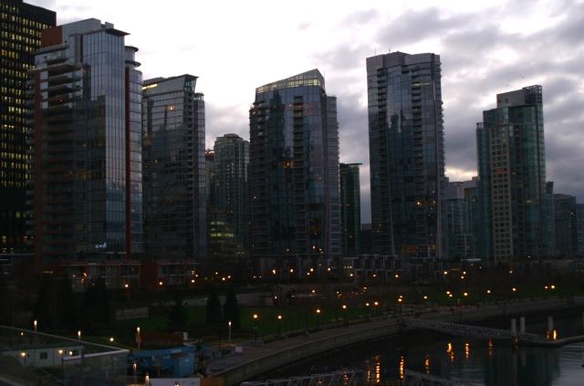 Jewels of glass, Vancouver skyline at twilight. 003