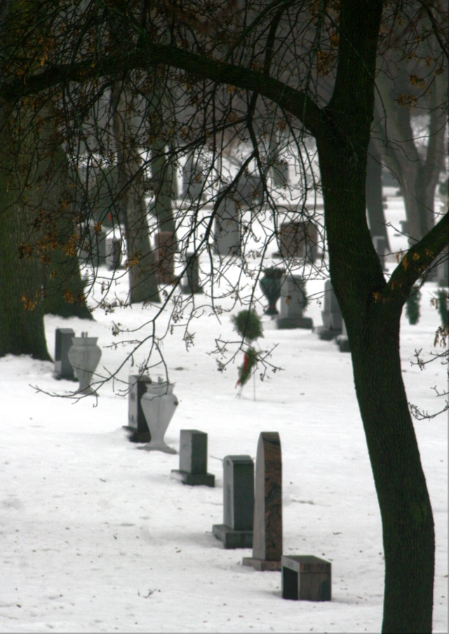 Row of frozen tombstones, Lakewood Cemetery