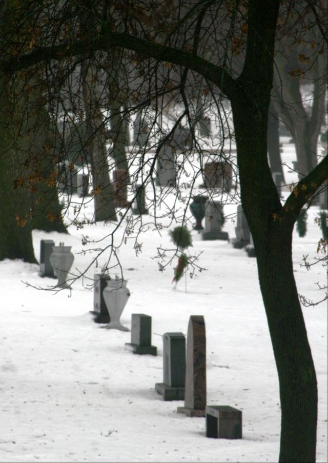 Row of frozen tombstones, Lakewood Cemetery