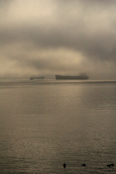 Cargo ships like ghosts on a foggy Vancouver morning