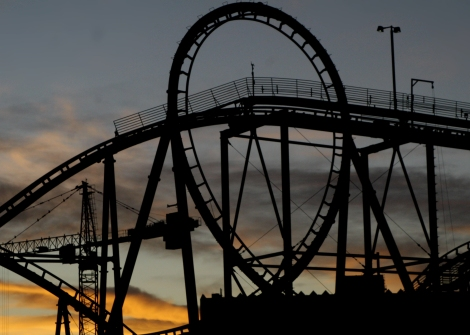 Sunset with a loop, NYNY casino coaster