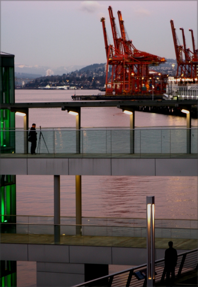 Viewers of the port of Vancouver at twilight