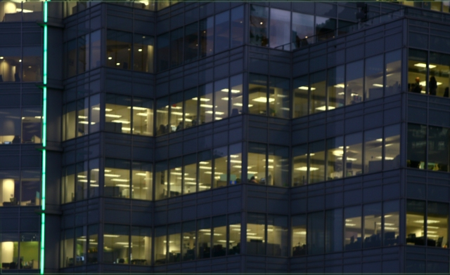 Zig zagging office facade at twilight, Vancouver