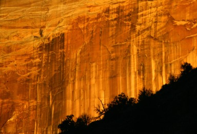 Canyon face on fire, Zion Canyon Natl Park early am 003