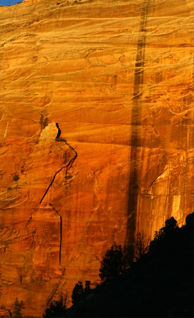 Canyon face on fire, Zionl Park early am 002