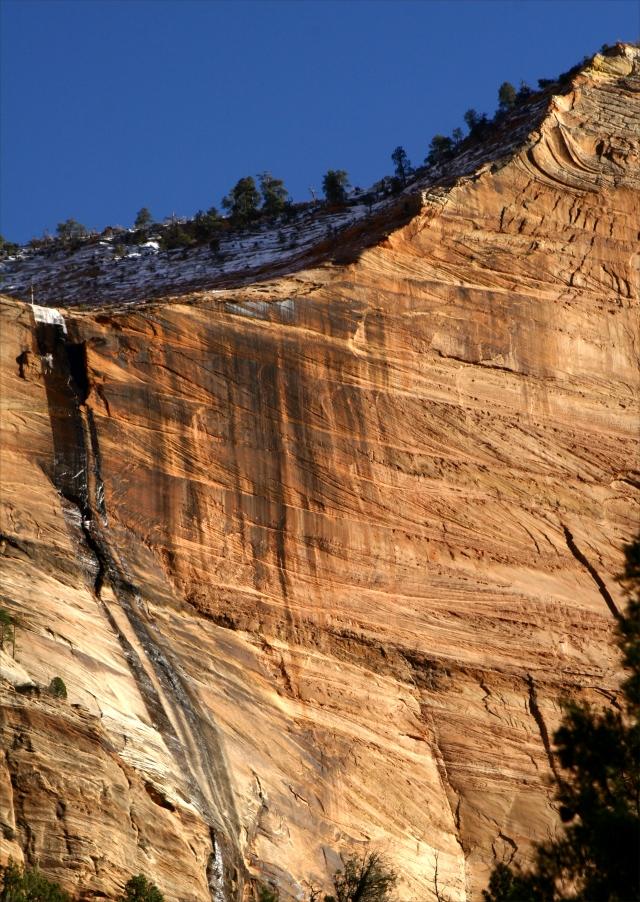 Ciff wall and frozen falls, Zion Canyon NPk