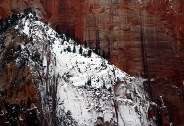 Cliff face with character, Zion Canyon Natl Pk 006