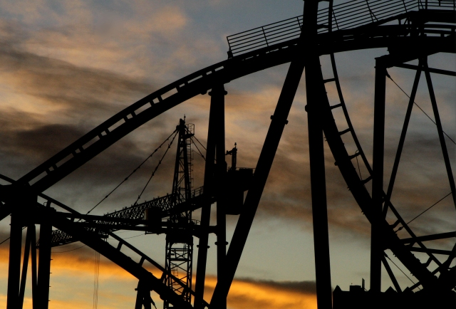 Coaster lines, NYNY coaster at sunrise 003
