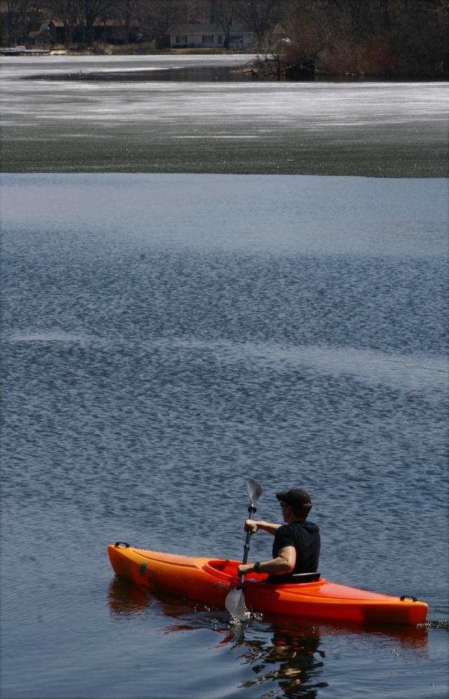 Kayak on open water Medicine Lake
