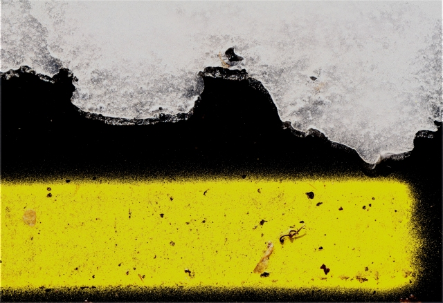 Lane marker and the edge of the melting ice