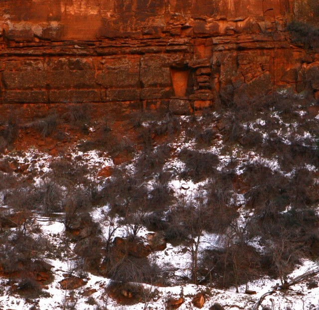 Portal in the cliff face, Zion Natl Park tighter crop