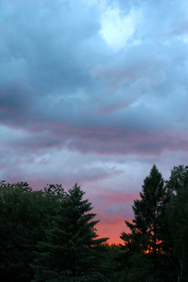 Pink sky parts the storm