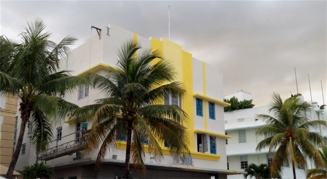 Bright buildings on Ocean Dr. South Beach Miami