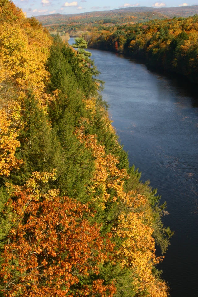 Connecticut River in fall splendor, from French King Bridge, Northern MA