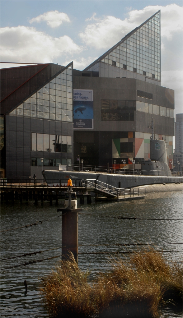 Full view of submarine and National Aquarium, Baltimore