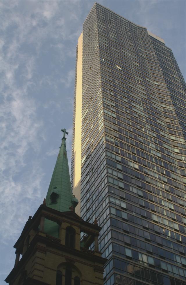 Church and the towering high rise, Manhattan