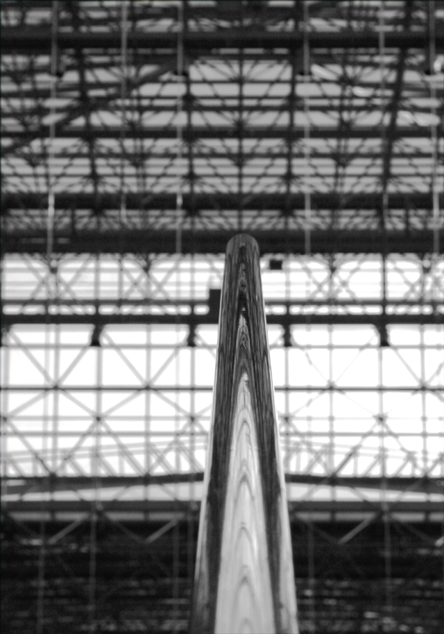 Handrail view looking into the gridwork of Jacob Javits Conv. Ctr