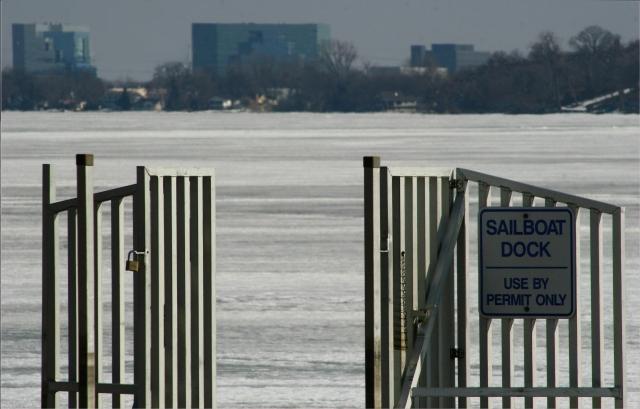 Ice boat dock is open, Medicine Lake