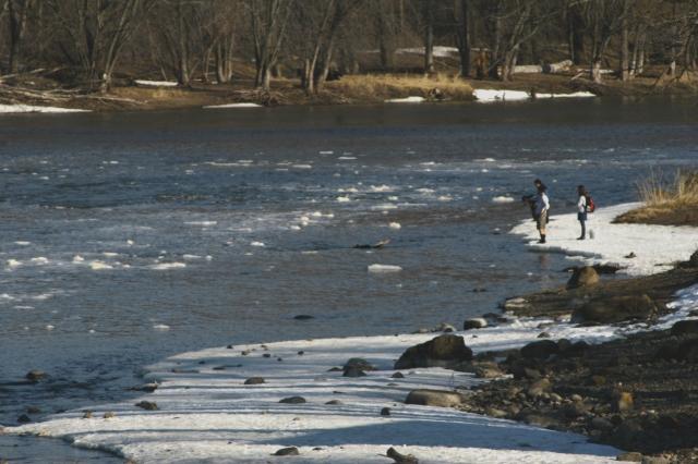 Mississippi below CRpds dam, watch the ice chucks flow