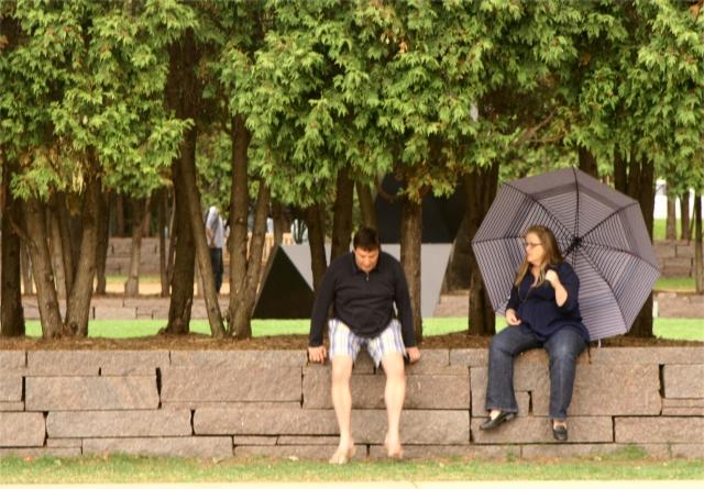People study Walker Sclupture Garden