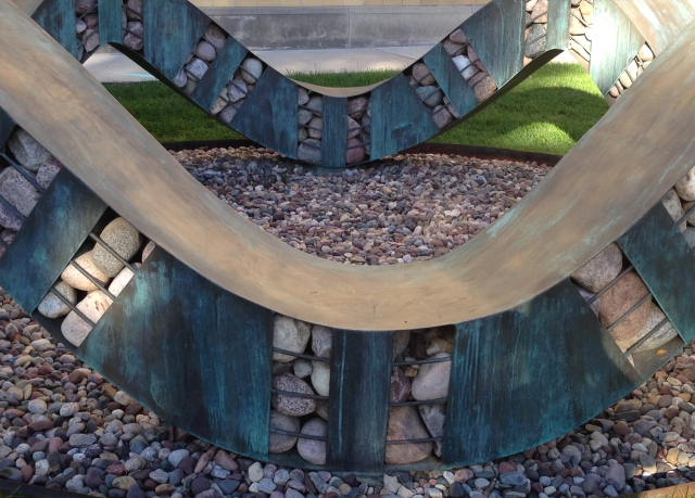 Sculpture in small garden area on main campus Madison