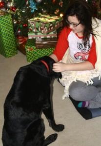 Junior gets a Christmas Ear rub