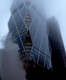 Steamy foggy Manhattan skycraper
