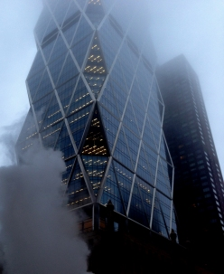 Steamy foggy Manhattan skycraper