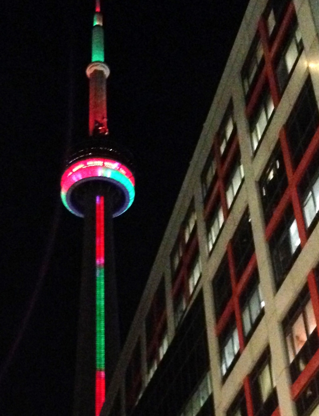 Sky needle in Christmas Colors Toronto 2015