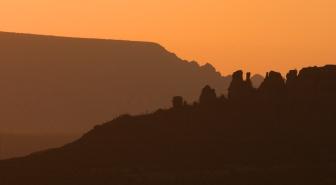 Rock formations at dusk 002, Sedona, AZ
