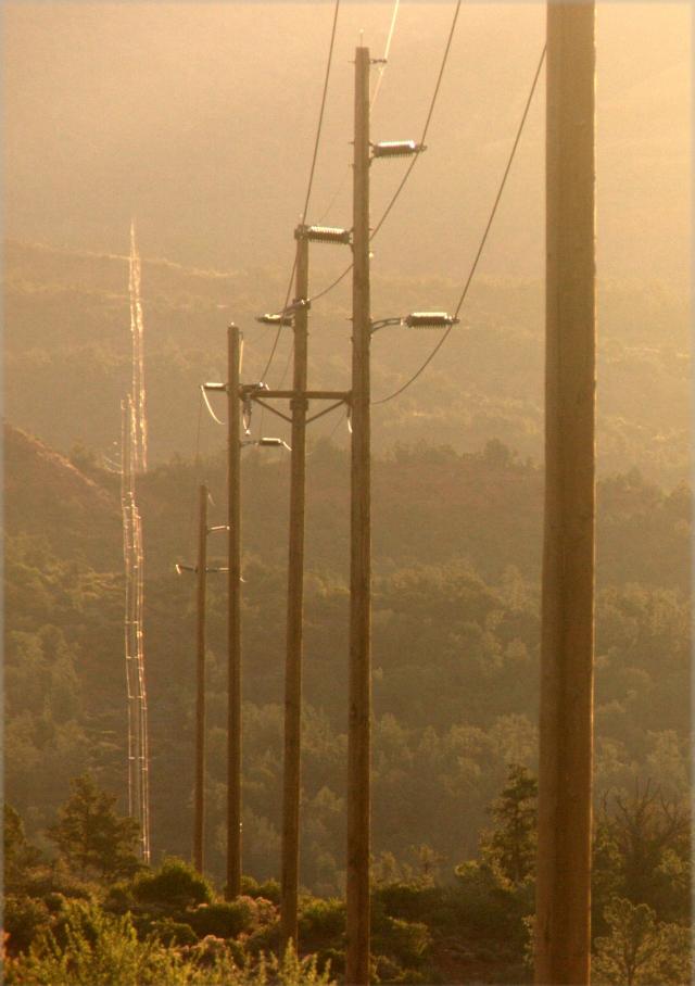 Glowing power line, Sedona 3.19.16