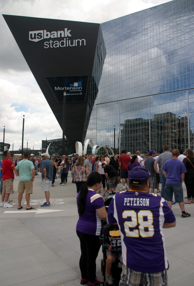 Visitors to the new US Bank Stadium